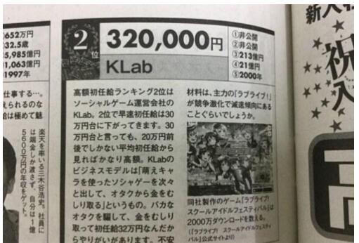 KLab这样的高工资在日本也是十分少见的情况