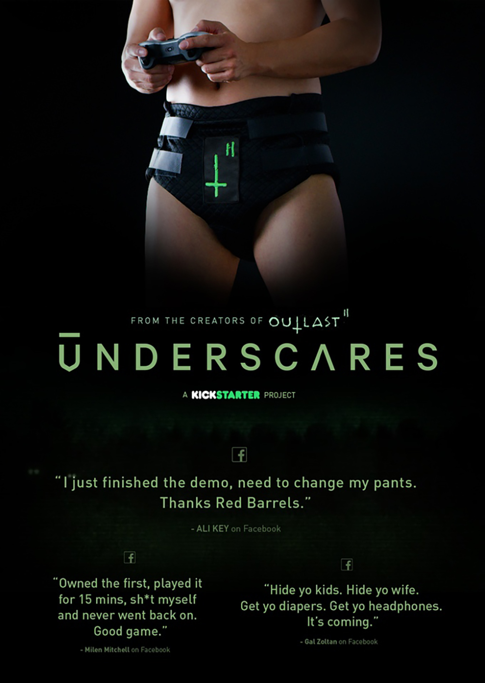 恐怖游戏《逃生2(Outlast2)》推出专用内裤,再也不用担心被吓尿啦!